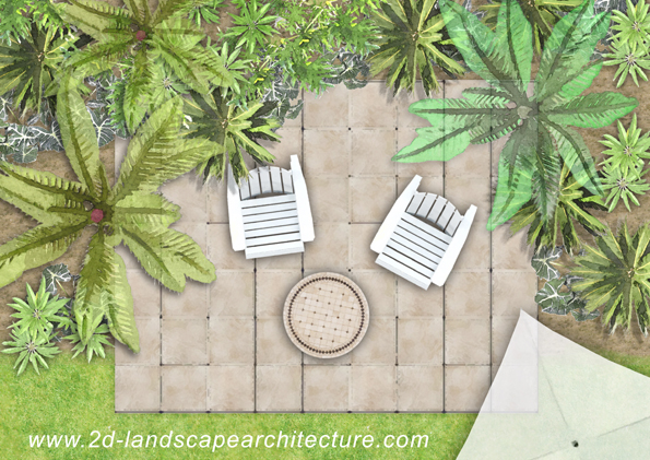 garden patio plan illustration rendering