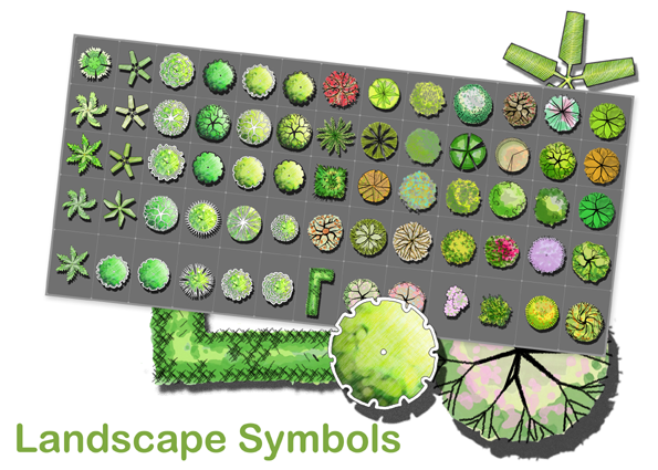 Creating garden plans with hand drawing landscape symbols for Garden design graphics