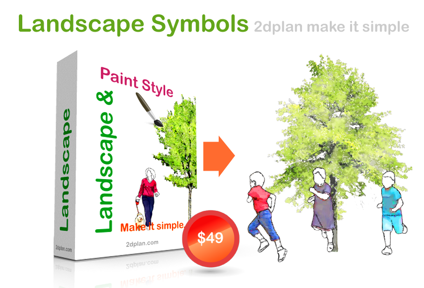 Landscape rendering symbols in painting rendering style