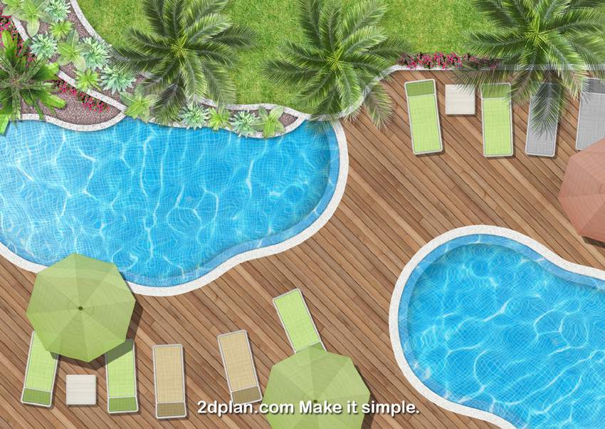 Landscaping plans rendering software super landscaping for Pool drawing software