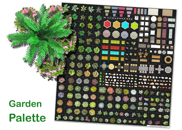 Garden palette top view images of trees, shrubs and furniture